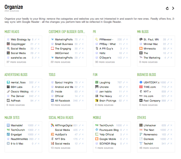 Feedly Organize