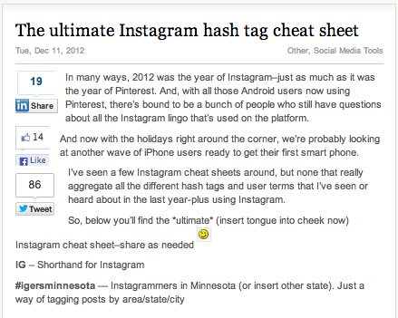 IG Cheat Sheet
